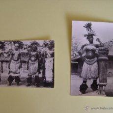 Fotografía antigua: LOTE DE 2 TARJETAS POSTALES (1960'S) GUINEA (RÍO MUNI) (BAILARINAS) ¡SIN CIRCULAR! ¡ORIGINALES!. Lote 50859745