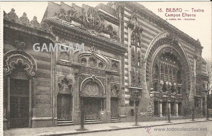 BILBAO BILBO TEATRO CAMPOS ELISEOS AÑOS 20 POSTAL (REF.A66) (Fotografía Antigua - Tarjeta Postal)