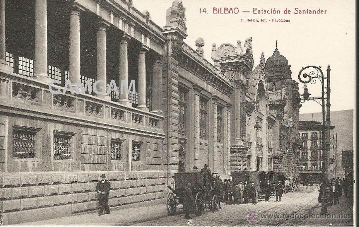 BILBAO BILBO ESTACIÓN DE SANTANDER AÑOS 20 POSTAL (REF.A67) (Fotografía Antigua - Tarjeta Postal)