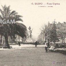 Fotografía antigua: BILBAO BILBO PLAZA ELÍPTICA AÑOS 20 POSTAL (REF.A68). Lote 51063278