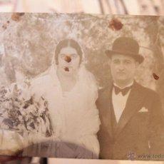 Fotografía antigua: ANTIGUA FOTOGRAFIA, PAREJA DE NOVIOS, BODA, . Lote 52491325