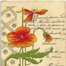 Fotografía antigua: +TARJETA EN RELIEVE MODERNISTA+ AÑO 1906, FRANQUEADA. *PRECIOSA*. Lote 53187015