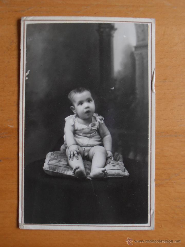 POSTAL FOTOGRAFIA ANTIGUA NIÑO BEBE FOTO LAURGRAFF MONTERA 42 MADRID (Fotografía Antigua - Tarjeta Postal)