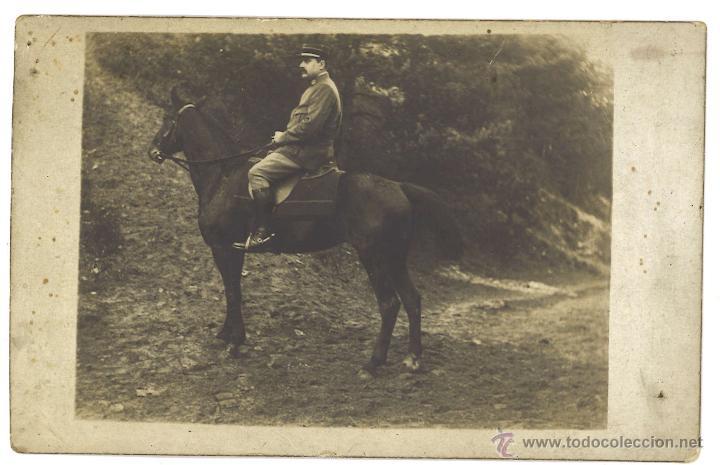 MILITAR FRANCÉS A CABALLO (Fotografía Antigua - Tarjeta Postal)