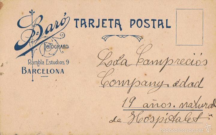 Fotografía antigua: FOTO RETRATO DE LOLA CAMPRECIÓS COMPANY, A LOS 19 AÑOS, DE HOSPITALET. CA.1915.FOTOG:BARÓ. BARCELONA - Foto 2 - 56656713