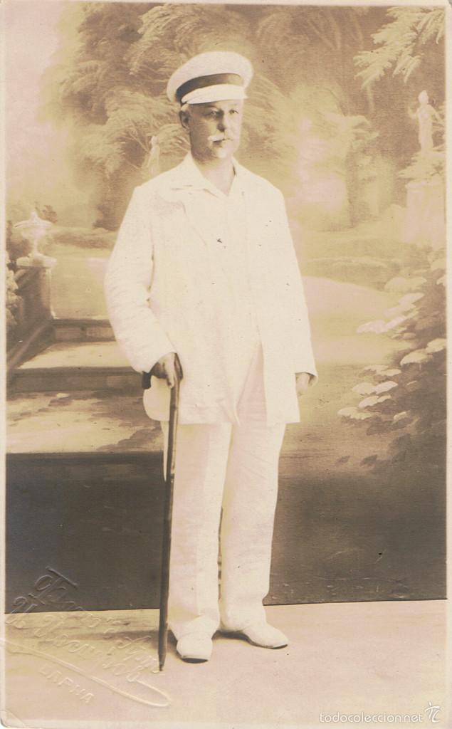 FOTO RETRATO DE CABALLERO VESTIDO DE BLANCO.CA.1910. FOTOGRAFIA BÚLGARA. BAPHA (BULGARIA) (Fotografía Antigua - Tarjeta Postal)