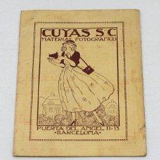 Fotografía antigua: TARJETA DE DIAFRAGMAS APROPIADOS DE CUYAS, S.C. MATERIAL FOTOGRAFICO BARCELONA 1921 14 X 9,50 CM. Lote 56977126