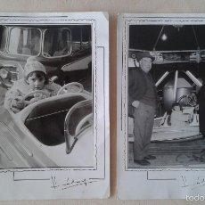 Fotografía antigua: LOTE 2 FOTOS ANTIGUAS -- TEMÁTICA PARQUE DE ATRACCIONES AÑOS 50 -- ESPAÑA -- ABUELOS Y NIETA --. Lote 57435699