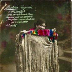 Fotografía antigua: ANTIGUA TARJETA DE *PASTORA IMPERIO*, CON LEYENDA. AÑO 1916.. Lote 57614817