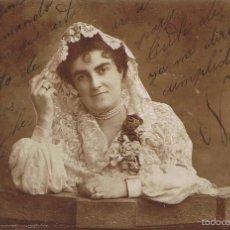 Fotografía antigua: FOTO SEÑORA CON MANTILLA DE ENCAJE. ESCRITA CON DEDICATORIA.FIRMADA NINI. CA.1910.PROCED.BARCELONA. Lote 57693014