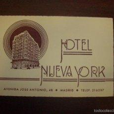 Fotografía antigua: MADRID, HOTEL NUEVA YORK, PUBLICIDAD. Lote 57809103