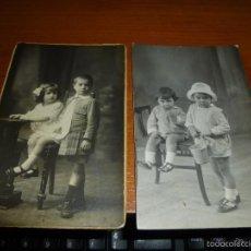 Fotografía antigua: 2 ANTIGUAS FOTOGRAFIAS DE NIÑOS, DE ESTUDIO, 14 X 9 CM.. Lote 57953568