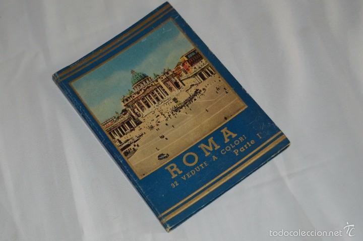 LIBRO CON 32 FOTOGRAFÍAS DE ROMA A TODO COLOR - AÑOS 50 - ROMA 32 VERDUTE A COLORI, PARTE I (Fotografía Antigua - Tarjeta Postal)