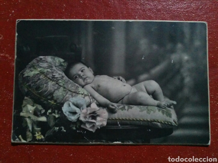 Fotografía antigua: Foto Postal Albúmina Sobre Cartón de Bebé en estudio PP.S.XX - Foto 3 - 66889666