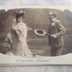 Fotografía antigua: T. POSTAL DE LA SERIE MATRIMONIOS MODERNOS : EL ENCUENTRO...! TABLEAU!. Lote 66979114