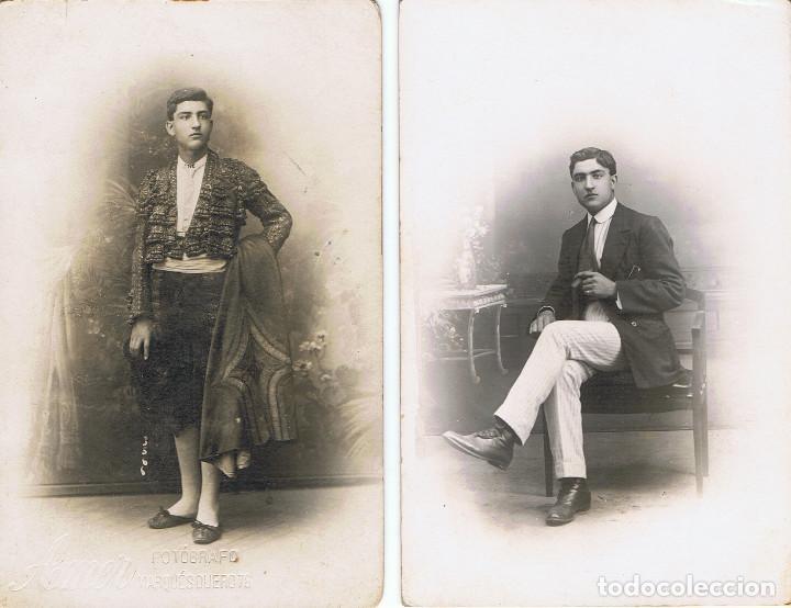 RETRATOS DEL MISMO JOVEN POSANDO Y VESTIDO DE TORERO. CA.1915. FOT. AMER Y ALONSO. BARCELONA. (Fotografía Antigua - Tarjeta Postal)