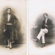Fotografía antigua: RETRATOS DEL MISMO JOVEN POSANDO Y VESTIDO DE TORERO. CA.1915. FOT. AMER Y ALONSO. BARCELONA.. Lote 71673739