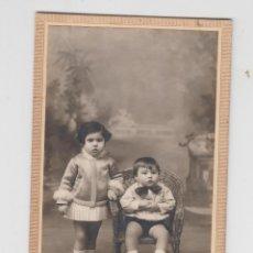 Fotografía antigua: ANTIGUA FOTOGRAFÍA, TARJETA POSTAL MARSAL DENIA, FAMILIAR, 2 NIÑOS. Lote 71677127