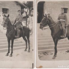 Fotografía antigua: 2 ANTIGUAS FOTOGRAFÍAS DE MILITAR A CABALLO . ¿ AÑOS 40 ? . NO CIRCULADAS. Lote 91094915
