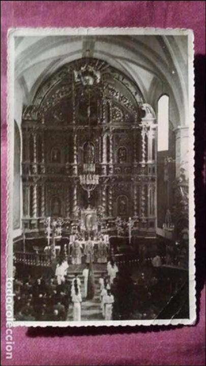LEIJA. ALTAR MAYOR, BARROCO DEL SIGLO XVIII (Fotografía Antigua - Tarjeta Postal)