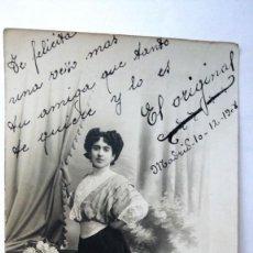 Fotografía antigua: ANTIGUA FOTOGRAFIA, SEÑORITA POSANDO, FOTOGRAFO CELEDONIO P. LOPEZ, MADRID AÑO 1908. Lote 91852375