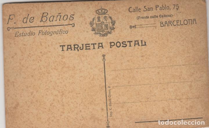 Fotografía antigua: antigua targeta postal de una niña - fotografia de baños barcelona - Foto 2 - 97623995
