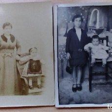 Fotografía antigua: FOTOGRAFIA TARJETA POSTAL ANTIGUAS LOTE DE 2 UDS. MADRES CON HIJAS AÑOS 10-20. Lote 99147111