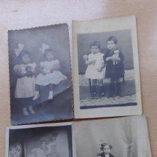 Fotografía antigua: FOTOGRAFIAS ANTIGUAS TARJETA POSTAL LOTE DE 4 UDS. RETRATO DE NIÑOS AÑOS 10-20 . Lote 99147203