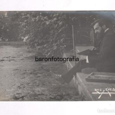Fotografía antigua: ANTONI ROS I GÜELL (BARCELONA 1877- BADALONA 1954) PINTOR PAISAJISTA. FOTO: FRANCESC SERRA. . Lote 100123039