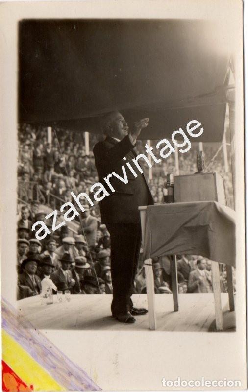 MADRID, 1930, MITIN REPUBLICANO, ALEJANDRO LERROUX, ESPECTACULAR (Fotografía Antigua - Tarjeta Postal)