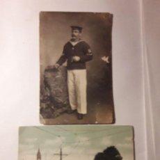Fotografia antiga: FOTO DE ESTUDIO EN POSTAL. MARINERO CORBETA NAUTILUS. 1914 EL FERROL. Lote 103871179