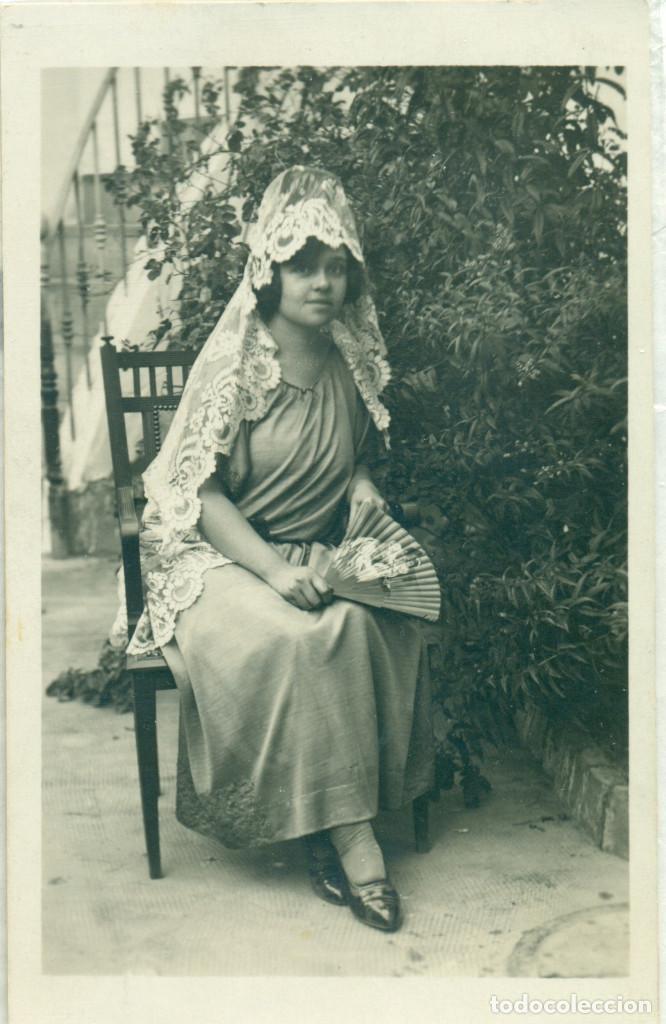 CORDOBA PUEBLO NUEVO DEL TERRIBLE. JOVEN CON MANTILLA. JULIO 1923. (Fotografía Antigua - Tarjeta Postal)
