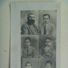Fotografía antigua: FOTOMONTAGE CON 6 RETRATOS DE CARNET : PADRE E HIJOS . Lote 106558935