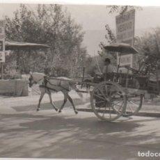 Fotografía antigua: FOTOGRAFIA DE CARRO TARTANA Y ANUNCIO COCACOLA DEL RESTAURANTE ESUVIO COCA -COLA. Lote 107018275