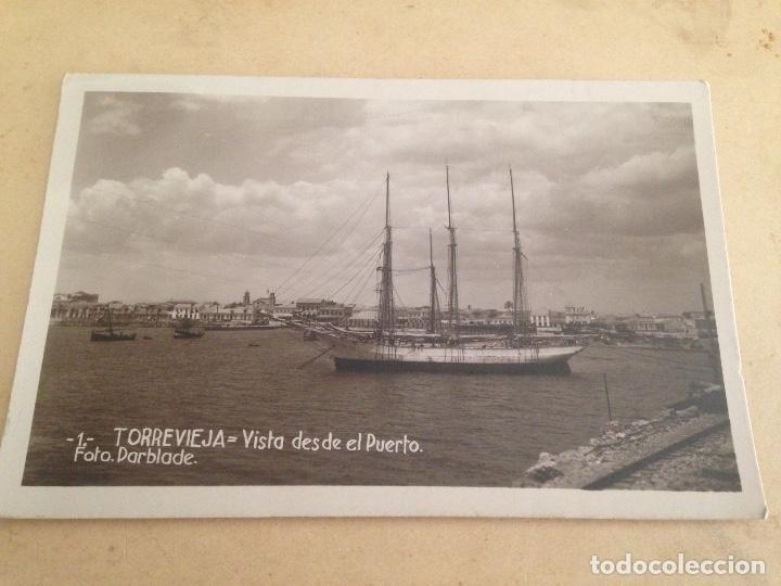 ANTIGUA POSTAL TORREVIEJA ALICANTE VISTA DESDE EL PUERTO FOTO DARBLADE (Fotografía Antigua - Tarjeta Postal)