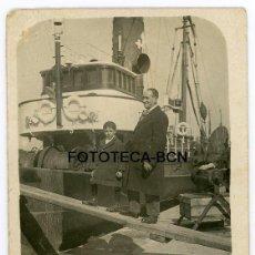 Fotografía antigua: FOTO ORIGINAL BUQUE BARCO PESQUERO COMPAÑIA CIERTO CANOSA POSIBLEMENTE PUERTO BARCELONA AÑOS 30. Lote 107974271