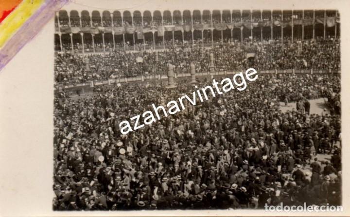 MADRID, 1930, MITIN REPUBLICANO EN LA PLAZA DE TOROS DE LAS VENTAS (Fotografía Antigua - Tarjeta Postal)