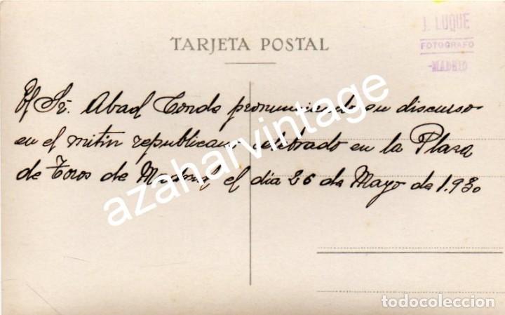 Fotografía antigua: MADRID, 1930, MITIN REPUBLICANO, GERARDO ABAD CONDE, ESPECTACULAR - Foto 2 - 108823235