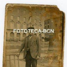 Fotografía antigua: FOTO ORIGINAL BARCELONA PL ESPAÑA HOTEL TORRE DEL RELOJ TERRAZA PLAZA TOROS LAS ARENAS AÑOS 20/30. Lote 110450055