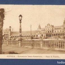 Fotografía antigua: TARJETA POSTAL - PLAZA DE ESPAÑA (SEVILLA) EXPOSICION IBERO - AMERICANA. Lote 113525843