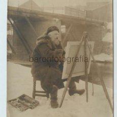 Fotografía antigua: FRITZ THAULOW (1847-1906) PINTOR NORUEGO, NORWAY. FOTO: HUTIN TRAMPUS, PARIS. 13X15 CM.. Lote 116219811