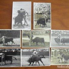 Fotografía antigua: A-015 LOTE DE 8 FOTO-POSTALES ANTIGUAS TAURINAS TODAS CON SELLO DE FOTOGRAFOS. Lote 116450487