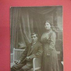 Fotografía antigua: MUY ANTIGUA FOTO NUPCIAL EN FORMATO POSTAL. FOT. AMER. BARCELONA. Lote 127435327