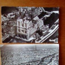 Fotografía antigua: 2 FOTO TARJETA POSTAL CIRCULADA 1959 PARÍS NOTRE-DAME TORRE EIFFEL. Lote 127848783