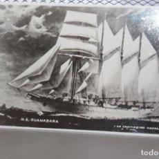 Fotografía antigua: *VELERO GUANABARA DE 3 MÁSTILES, BARCO ESCUELA DE LA MARINA DE BRASIL DE 1948- 61* INF. 2 FOTOS. Lote 128483663