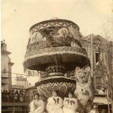 Fotografía antigua: MURCIA. CARROZA PARTICIPANTE Y PREMIADA EN LA BATALLA DE FLORES DE 1913. IDENTIFICACIÓN POR EL DORSO. Lote 130129791