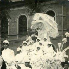 Fotografía antigua: MURCIA. CARROZA DEL 'COSO BLANCO' PARTICIPANTE EN LA BATALLA DE FLORES DE 1913. . Lote 130130383