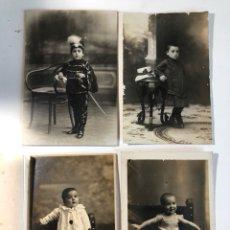 Fotografía antigua: 4 ANTIGUOS FOTOGRAFÍAS TARJETAS POSTALES NIÑOS / CARTÓN. Lote 131127332