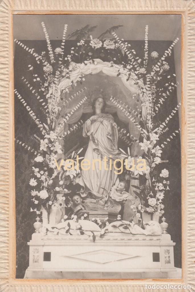 PRECIOSA FOTOGRAFÍA TARJETA POSTAL. ANDA. VIRGEN INMACULADA CONCEPCIÓN CON ÁNGELES Y FLORES AÑOS 20 (Fotografía Antigua - Tarjeta Postal)