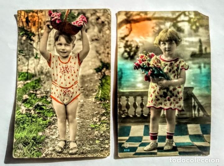 LOTE 2 FOTOGRAFIAS INFANTILES DE 1930 (Fotografía Antigua - Tarjeta Postal)